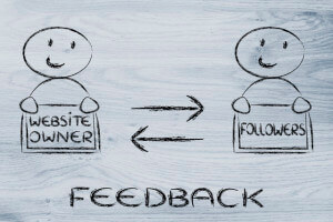feedback or message exchange between website owner and followers