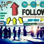 Volg Follower Na aansluiten Social Networking Concept